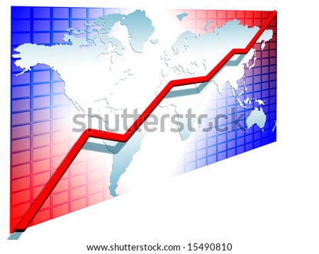 line chart red going up on the world map greed background illustration isolated #15490810