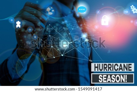 Writing note showing Hurricane Season. Business photo showcasing time when most tropical cyclones are expected to develop Picture photo network scheme with modern smart device.