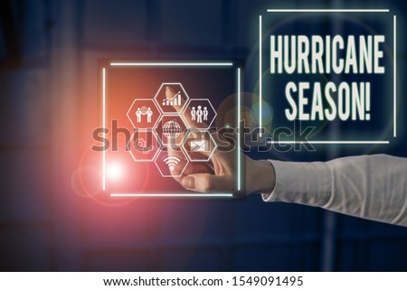 Conceptual hand writing showing Hurricane Season. Business photo text time when most tropical cyclones are expected to develop Picture photo network scheme with modern smart device.