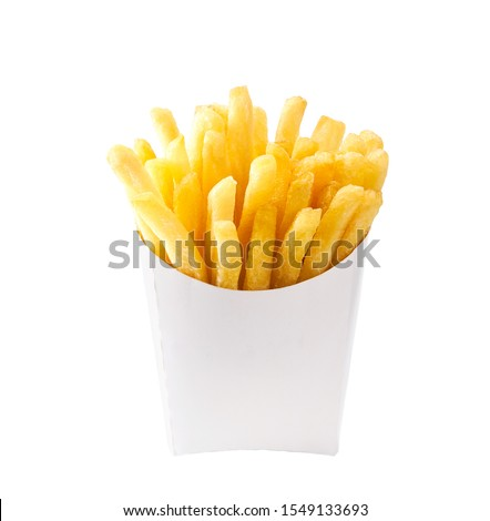 French fries in a white paper box isolated on white background. Front view. french fries in a paper wrapper . #1549133693