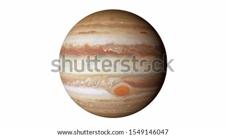 Jupiter isolated on a white background. Elements of this image were furnished by NASA.