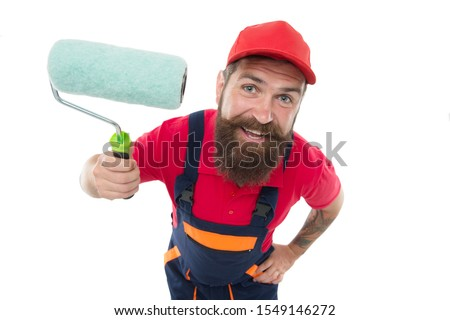 Skillful and professional painter. Bearded man painter isolated on white. Wall painter with painting tool. Brush roller painter. Painters work. Construction and renovation. Decoration and decor. #1549146272