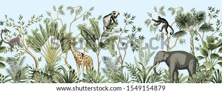 Tropical vintage botanical landscape, palm tree, banana tree, plant, palm leaves, giraffe, monkey, elephant floral seamless border blue background. Jungle animal wallpaper. #1549154879