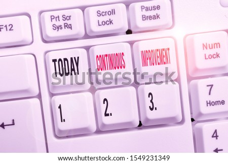 Word writing text Continuous Improvement. Business concept for ongoing effort to improve products or processes White pc keyboard with empty note paper above white background key copy space. #1549231349