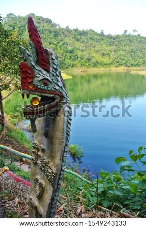 Sacred points and sacred sites at the old city gate. B-Klee River, Sangkhla Buri, Kanchanaburi, Thailand #1549243133
