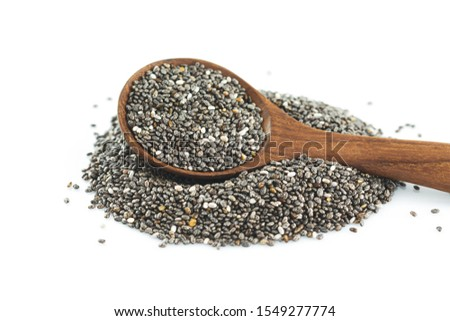 chia seeds on spoon on white background. #1549277774