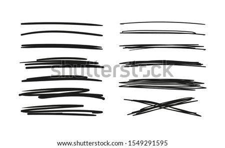 Set of hand drawn lines. Doodle design. Scribble with a pen, stripes with a pencil. Black abstract elements for design. Stock vector isolated on white background. #1549291595