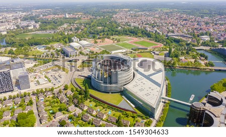Strasbourg, France. The complex of buildings is the European Parliament, the European Court of Human Rights, the Palace of Europe, Aerial View   #1549304633