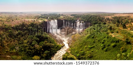 Kalandula waterfalls. This picture was taken in Malanje Province in Angola in August of 2019. This is a panoramic photography of a beautiful landscape in Africa.