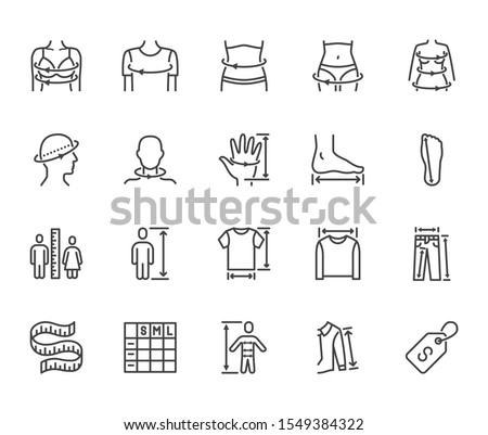 Clothes size flat line icons set. Body measurement waist circumference, hip, chest, sleeve length, height vector illustrations. Outline signs clothing sizes table. Pixel perfect. Editable Stroke