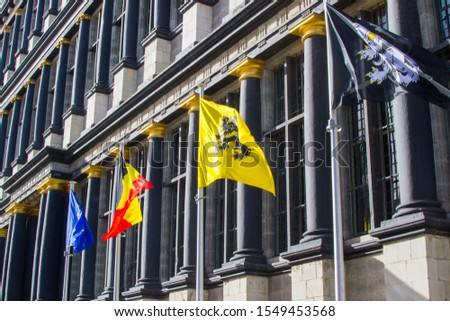 Flags of the city, Flanders, Begium and Europe in the Town Hall (Stadhuis) in Ghent, Belgium, Europe #1549453568