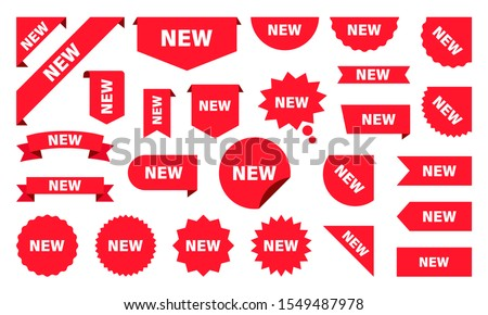 New Label collection set. Sale tags. Discount red ribbons, banners and icons. Shopping Tags. Sale icons. Red isolated on white background, vector illustration. #1549487978