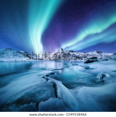 Aurora Borealis, Lofoten islands, Norway. Nothen light, mountains and frozen ocean. Winter landscape at the night time. Norway travel - image #1549558466