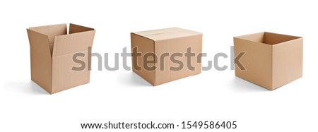close up of  a cardboard box on white background Royalty-Free Stock Photo #1549586405
