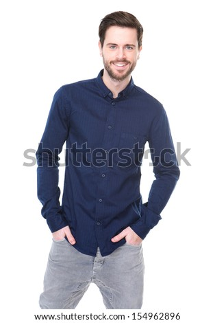 Portrait of a cheerful young man smiling on isolated white background #154962896