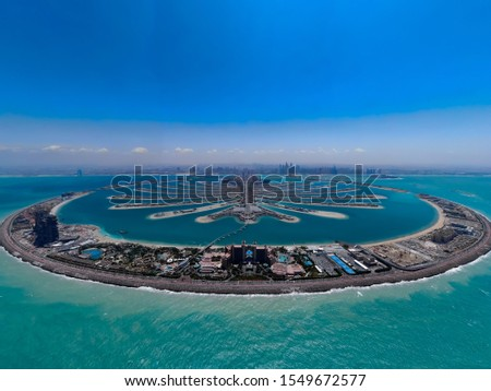 The Palm Jumeirah Dubai with ocean in picture.
