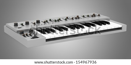 gray synthesizer isolated on gray background #154967936