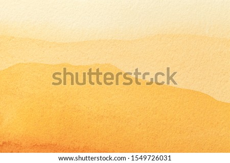 Abstract art background light yellow and golden colors. Watercolor painting on canvas with soft orange gradient. Fragment of artwork on paper with amber pattern. Texture backdrop. #1549726031
