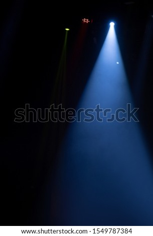 scene, stage light with colored spotlights and smoke #1549787384