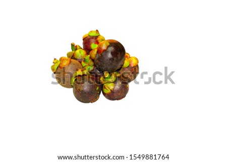 Mangosteen (Garcinia mangostana)  or purple mangosteen isolated to white background with selective focus - tropical edible fruit #1549881764