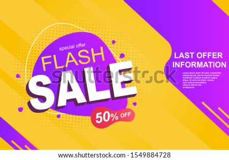 Flash Sale banner with discount isolated on a Yellow Purple background. Can be a banner sticker or header. Vector Illustration #1549884728