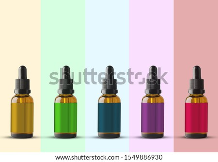 mage of empty and clean multi color glass bottle 3d mockup of cosmetic Royalty-Free Stock Photo #1549886930
