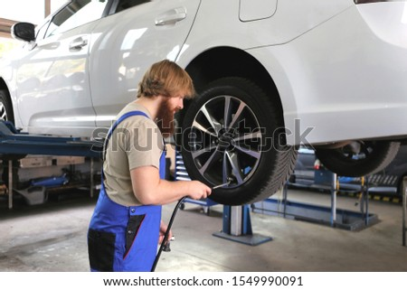 Tire service in the garage #1549990091