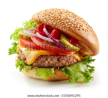 fresh tasty burger isolated on white background #1550041295