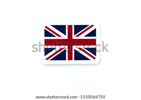 Miniature paper flag of Great Britain. Isolated flag pointer on white background #1550066750