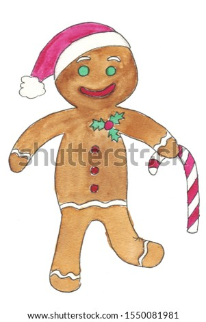 Gingerbread ginger man with a sugar cane and a Christmas hat. Watercolor and liner hand drawn illustration #1550081981