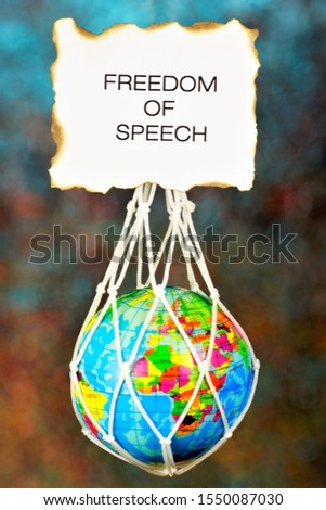 Freedom of speech—the right to freely Express one's thoughts orally and in writing in the press and the media. UN universal Declaration of human rights, goal against tyranny and oppression.  #1550087030