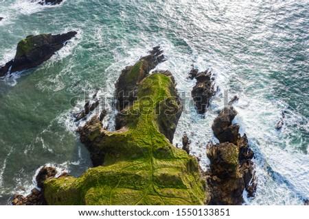 Aerial top down view, Irish coastline of Co Kerry, Wild Atlantic Way. Royalty-Free Stock Photo #1550133851