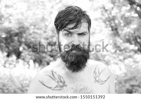The masculine nature. Masculine guy with tattoo on shoulders on summer landscape. Bearded man shirtless with masculine look outdoor. Hipster with long beard and mustache in sexy masculine style. #1550151392
