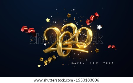 Jewelry 2020 numbers. Happy New 2020 Year. Holiday vector illustration of golden calligraphic characters, ribbons, stars and confetti . Realistic 3d sign. Festive poster or banner design. #1550183006