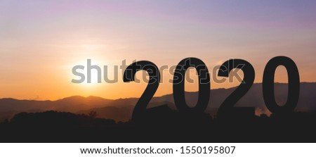 2020 new year concept silhouette landscape picture