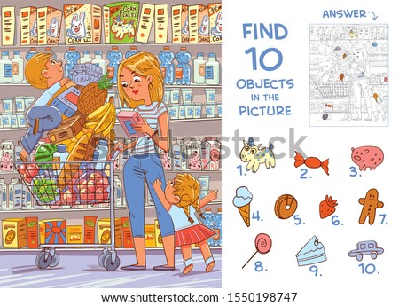 Find 10 objects in the picture. Puzzle Hidden Items. Mother and two young children are shopping in a supermarket. Funny cartoon character Royalty-Free Stock Photo #1550198747