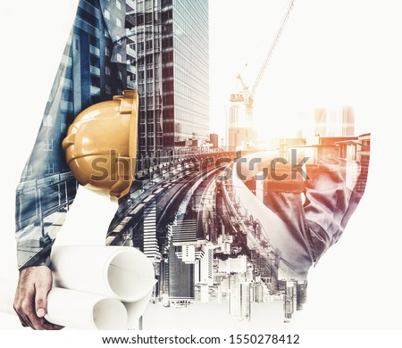 Future building construction engineering project concept with double exposure graphic design. Building engineer, architect people or construction worker working with modern civil equipment technology. #1550278412