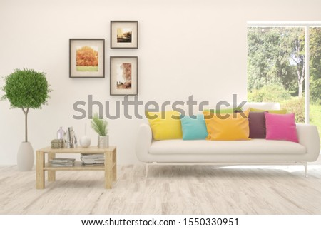Stylish room in white color with sofa and summer landscape in window. Scandinavian interior design. 3D illustration #1550330951