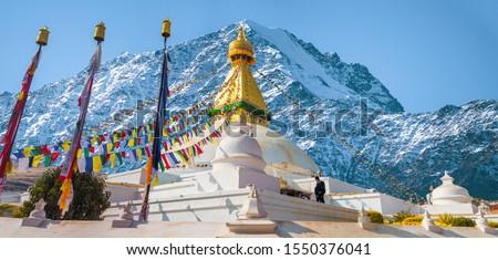 Evening view of Bodhnath stupa .  Kathmandu .  Nepal #1550376041