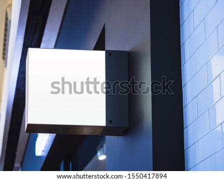 Mock up Signage Blank shop sign Square shape Exterior modern Building