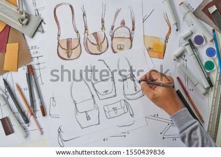 Designer stylish sketch Drawn design template pattern made leather clutch bag handbag purse Woman female Fashionable Fashion Luxury Elegant accessory.                                #1550439836