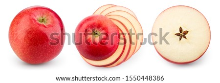 Red apple isolate. Apples on white background. Apple slice. Set with clipping path. #1550448386