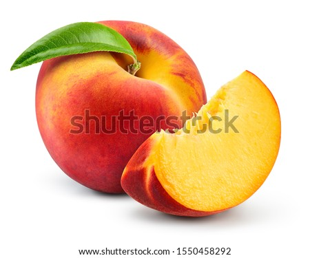 Peach isolate. Peach slice. Peach with leaf on white background. Full depth of field. With clipping path. #1550458292