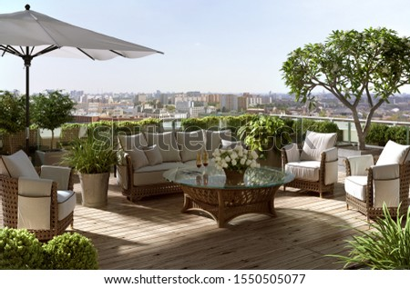 3d illustration a rattan patio set including a sofa, a table and a chair on a wooden deck in the sunny garden; 3d rendering; 300 dpi