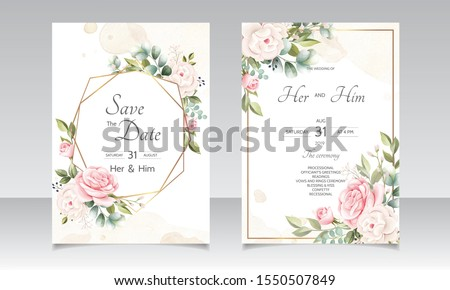 beautiful floral wreath wedding invitation card template #1550507849