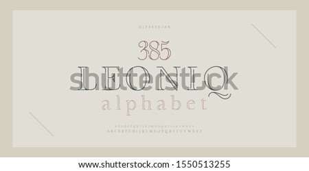 Elegant alphabet letters serif font and number. Classic Lettering Thin Line Minimal Fashion. Typography thin line fonts uppercase, lowercase and numbers. vector illustration #1550513255
