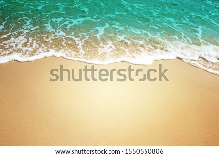 Beautiful soft blue wave of the sea. Summer nature background. #1550550806