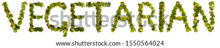 Vegetarian. Healthy lifestyle and nutrition. English alphabet. Text from the products. Broccoli, asparagus, carrots. Designer font. Vegetable Font. #1550564024