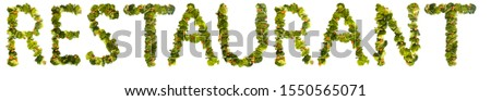 Restaurant. Healthy lifestyle and nutrition. English alphabet. Text from the products. Broccoli, asparagus, carrots. Designer font. Vegetable Font. #1550565071