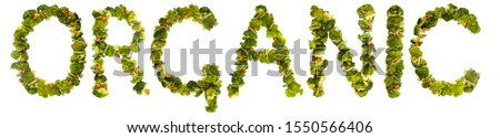 Organic. Healthy lifestyle and nutrition. English alphabet. Text from the products. Broccoli, asparagus, carrots. Designer font. Vegetable Font. #1550566406